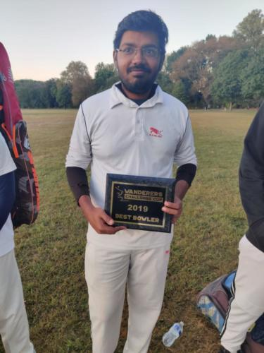 Sathya Best Bowler of T10 Tournament 2019